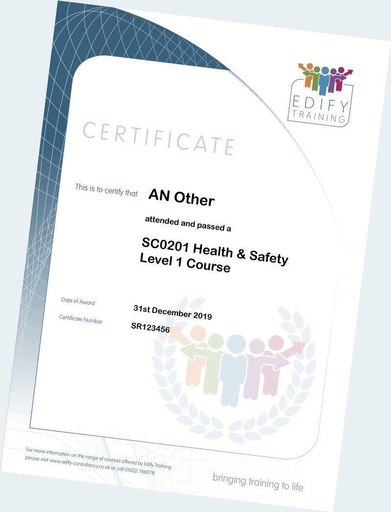 Certificate - Care Training in Kent - Edify Training Consultancy